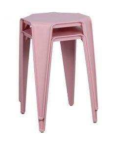 八角形膠疊椅疊凳-粉紅色