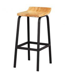 實木坐墊黑色鐵藝吧椅-KNE-GCBC12