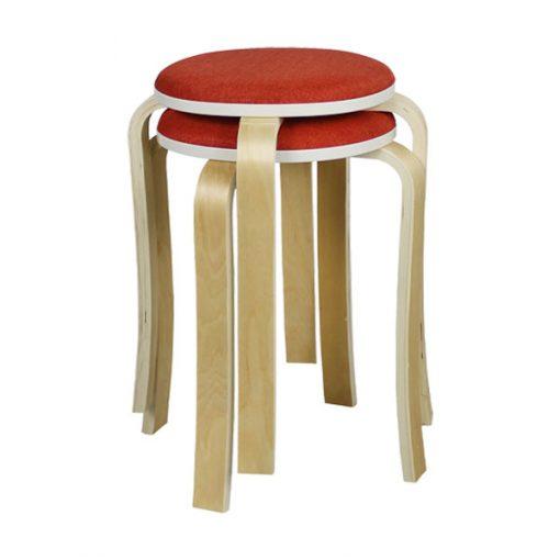 布藝木製圓形疊椅疊凳-紅色