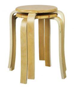 木製圓形疊椅疊凳-原木色