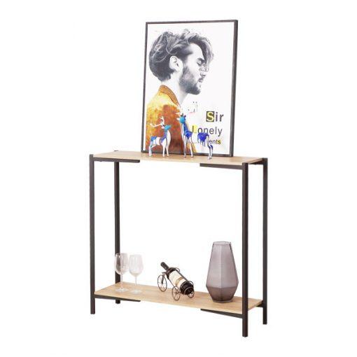 黑色淺木紋兩層木製鐵藝玄關桌-KNE-STLG12b