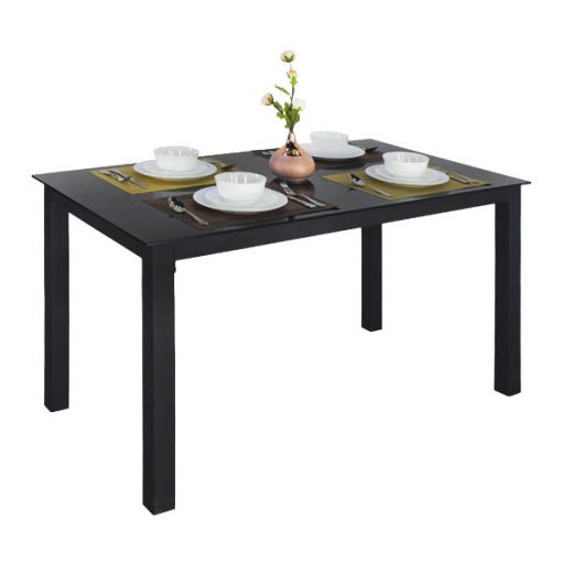 黑色玻璃鐵藝長方形餐枱