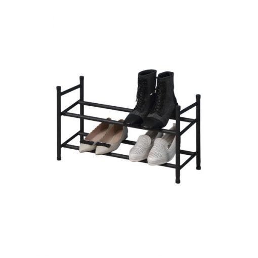 2層黑色層疊式伸縮鞋架
