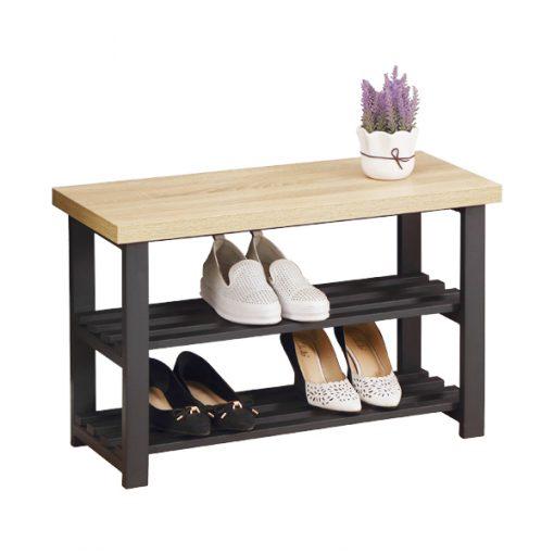 3層可坐式鐵藝木製鞋架換鞋凳