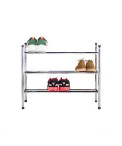 3層電鍍銀色層疊式伸縮鞋架