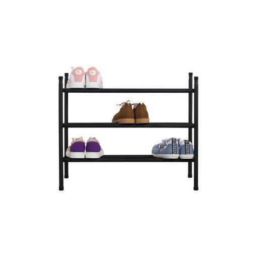 3層黑色層疊式伸縮鞋架