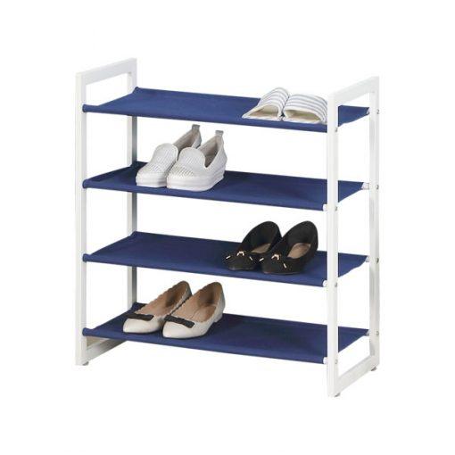 4層白色無紡布鐵藝鞋架