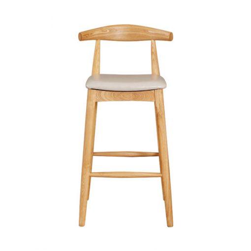 全實木彷皮軟墊吧椅-淺灰色