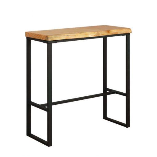 原木長方形木製鐵藝吧枱(松木)-100cm
