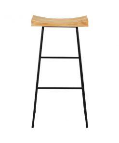實木坐墊黑色鐵藝吧椅-KNE-GABC12