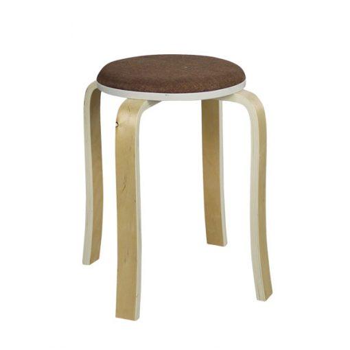 布藝木製圓形疊椅疊凳-啡色