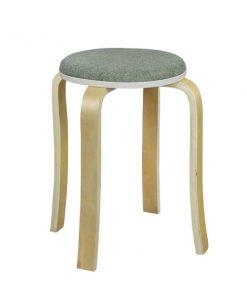 布藝木製圓形疊椅疊凳-綠色