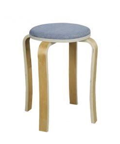 布藝木製圓形疊椅疊凳-藍色