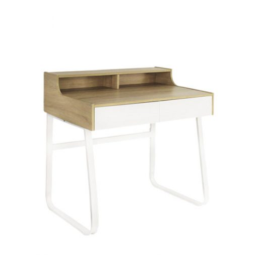 白色多功能木製鐵藝雙櫃桶書枱