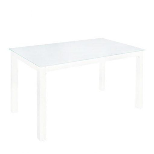 白色玻璃鐵藝長方形餐枱