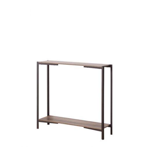 黑色深木紋兩層木製鐵藝玄關桌-KNE-STLG12a
