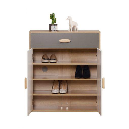 2門木製大櫃桶4層鞋櫃