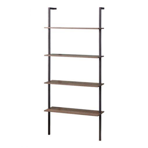 4層黑色鐵藝木製雙支柱書架