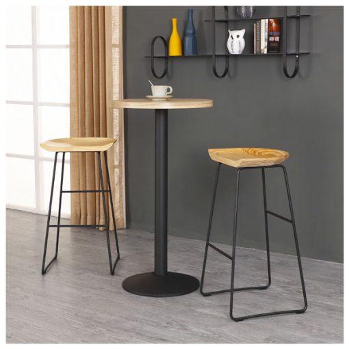 實木坐墊黑色鐵藝吧椅-KNE-GBBC12