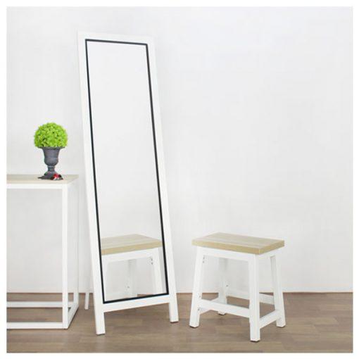 時尚白色全身落地連身鏡