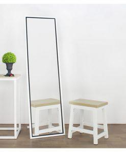 經典白色全身落地連身鏡