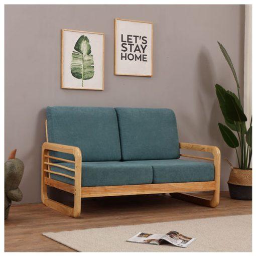 2座位日系小戶型實木布藝梳化-綠色