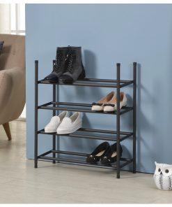4層黑色層疊式伸縮鞋架