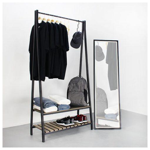 A型黑色掛衣衣帽架配兩層木製層架