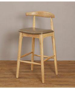 全實木彷皮軟墊吧椅-深灰色