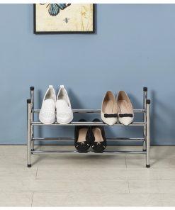 2層電鍍銀色層疊式伸縮鞋架