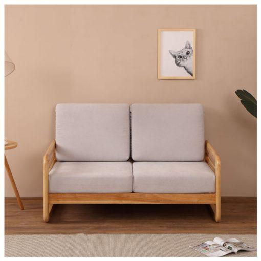 2座位日系小戶型實木布藝梳化-淺灰色