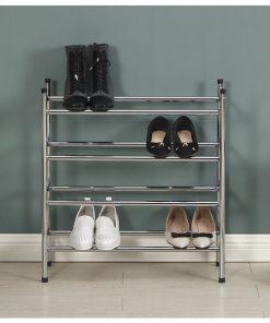 4層電鍍銀色層疊式伸縮鞋架
