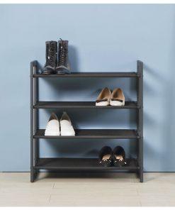 4層黑色無紡布鐵藝鞋架